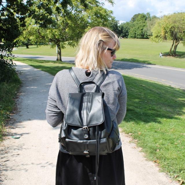 Primark Black Leather Look Backpack