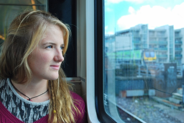 Ches looking out of the window on the DART