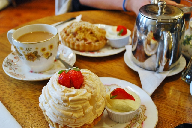 Tea, lemon meringue tart and apple crumble tart from Queen of Tarts