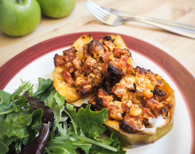 baked apples chorizo