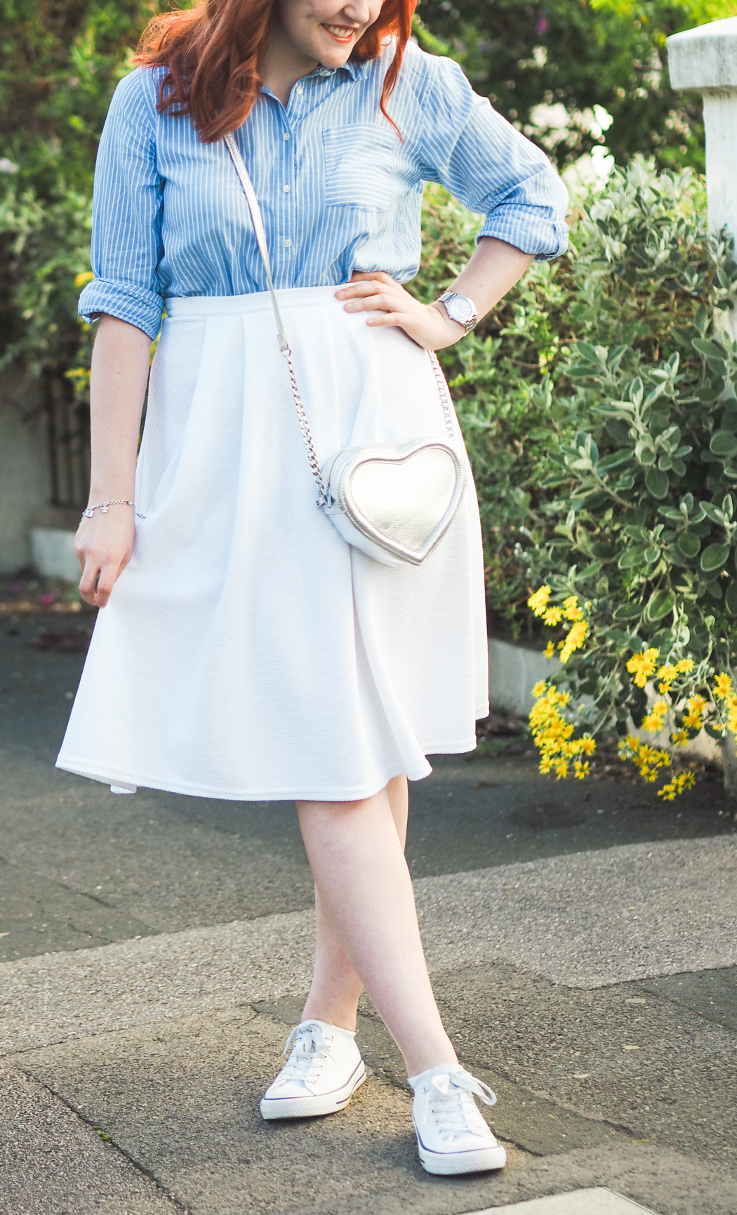 new look white midi skirt
