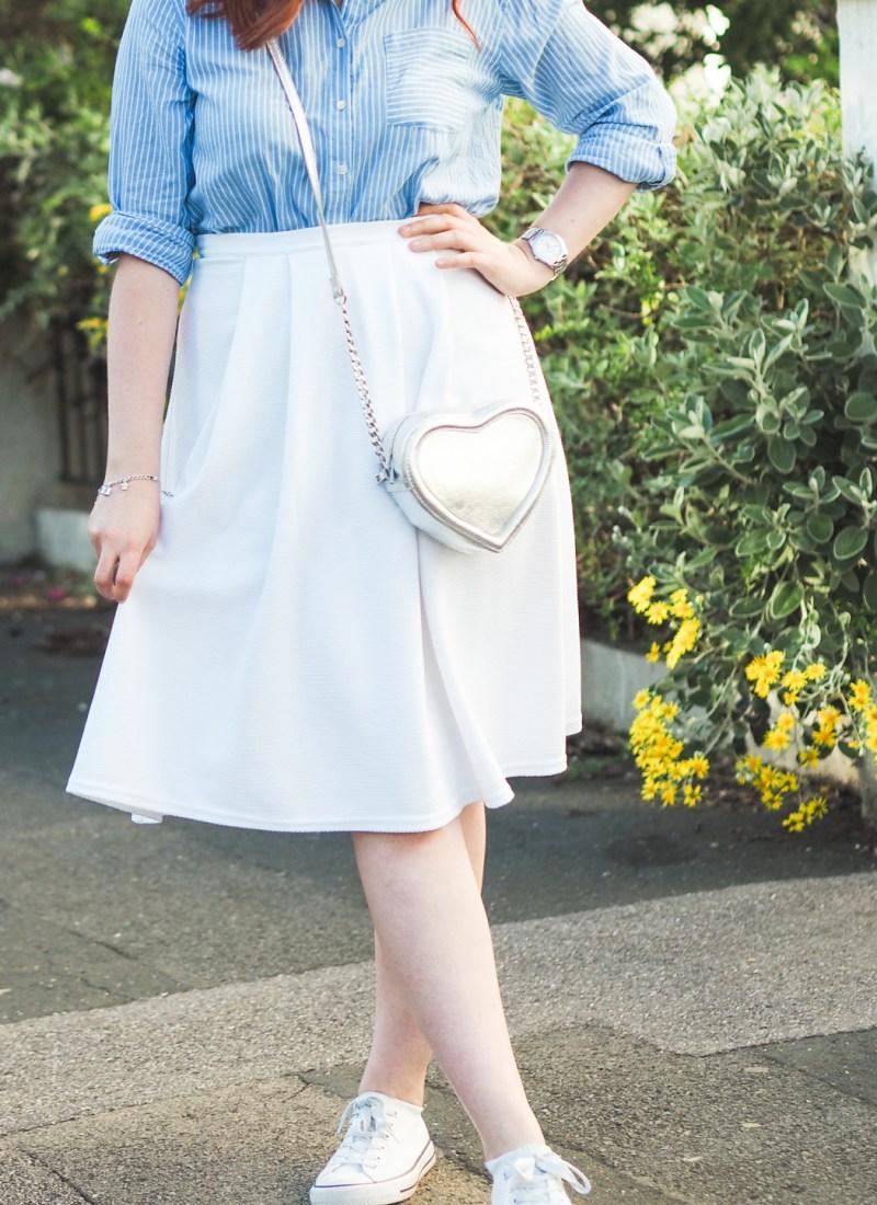 My Swishy White Midi Skirt