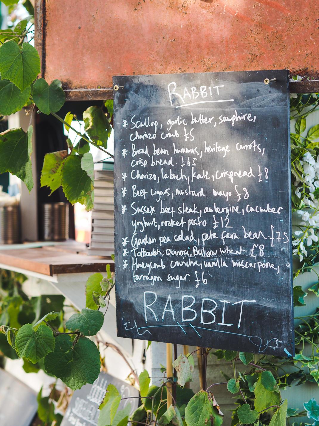rabbit pop up london menu