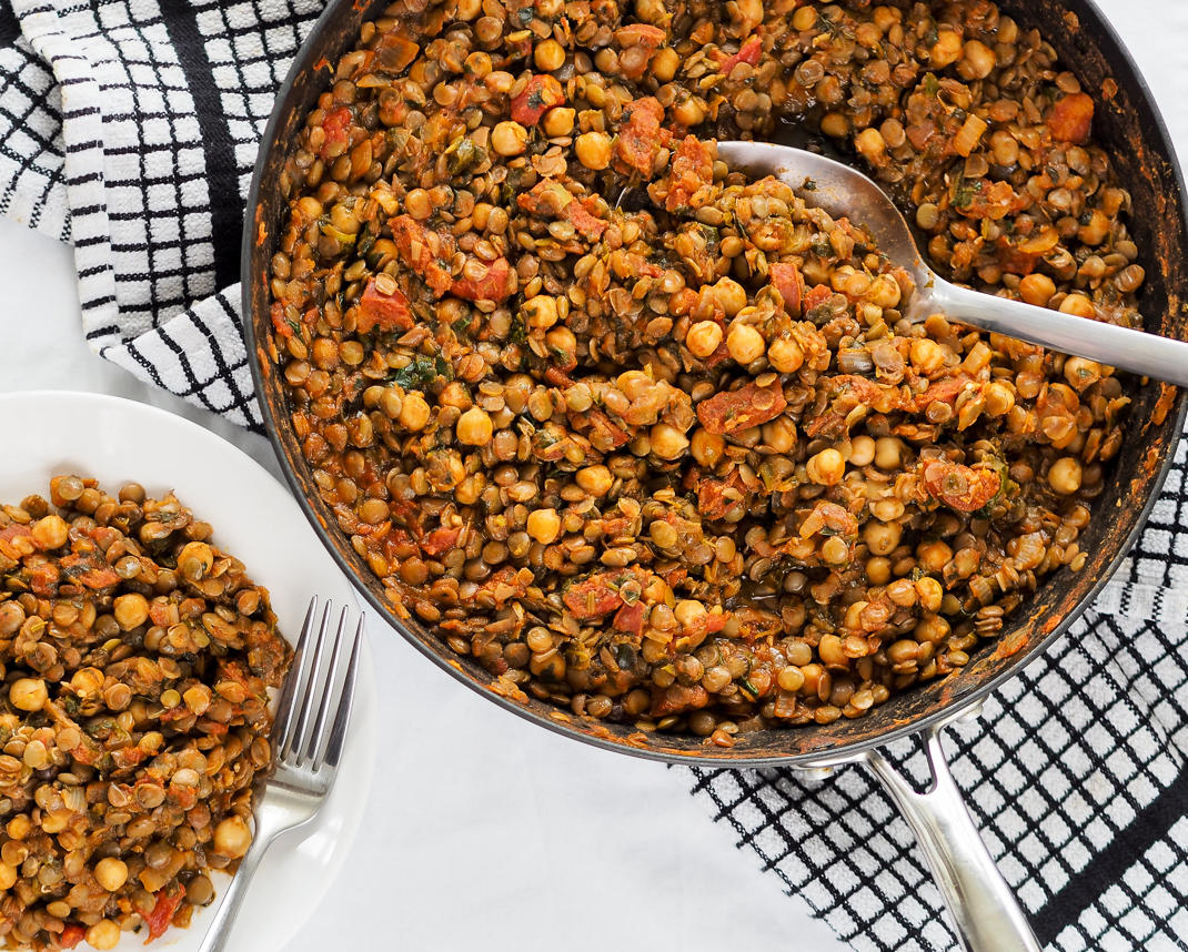 smokey lentil, chickpea and tomato stew