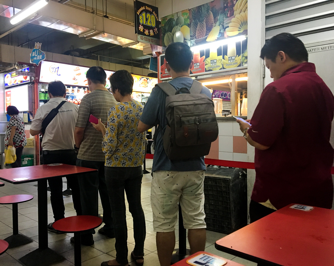 hong kong soya sauce chicken rice and noodle queue