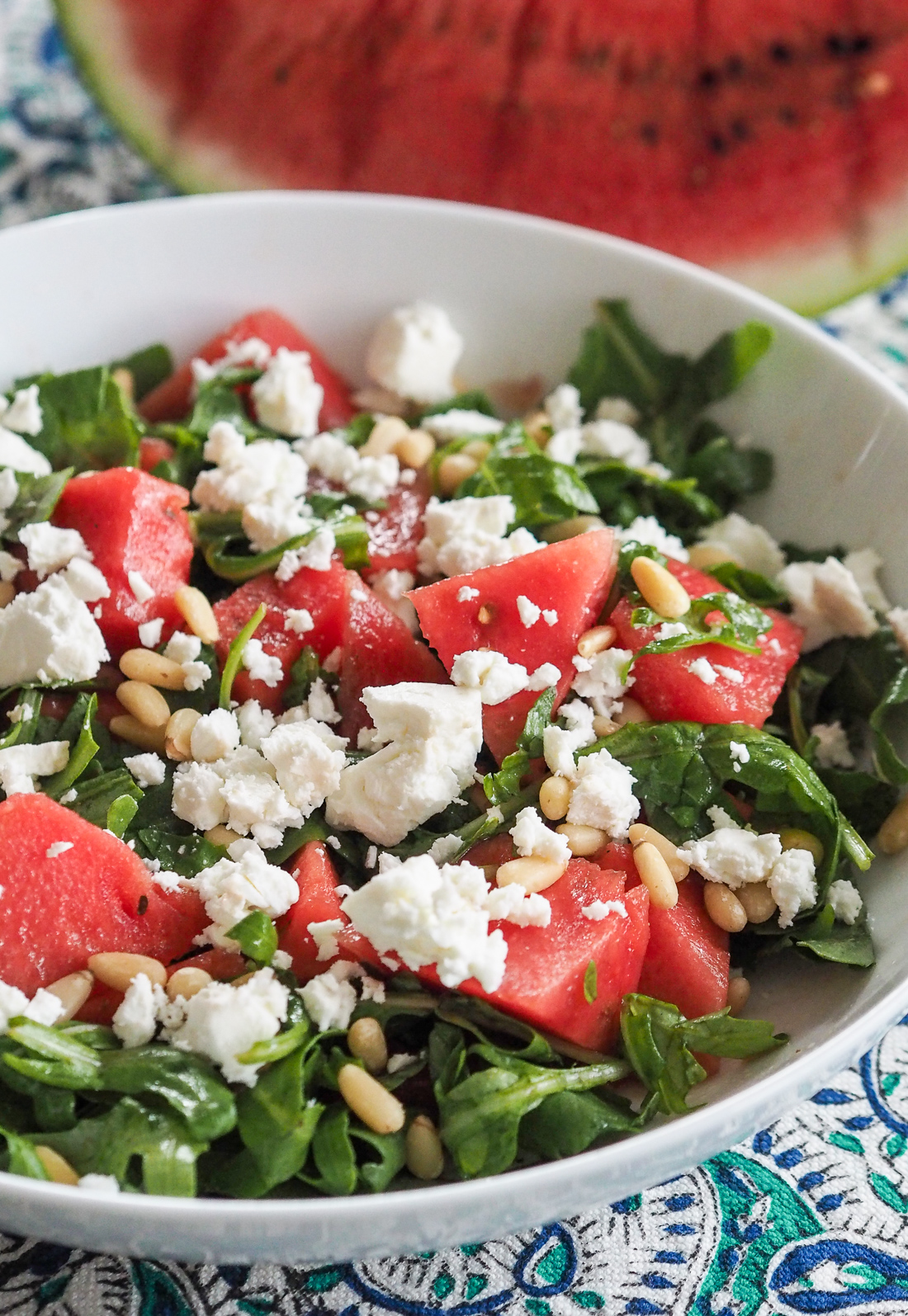 watermelon feta rocket salad with balsamic dressing