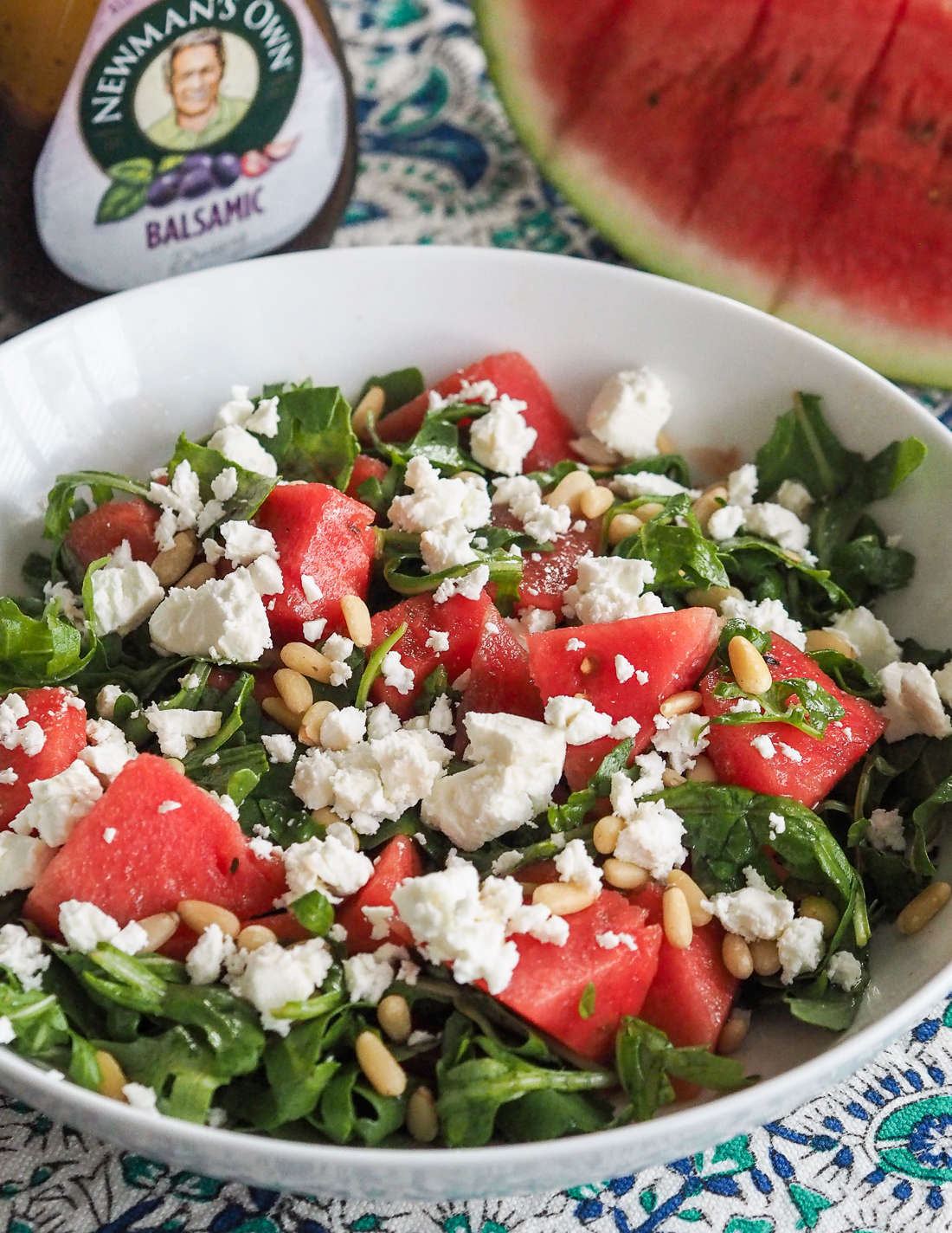 watermelon feta arugula salad with balsamic dressing