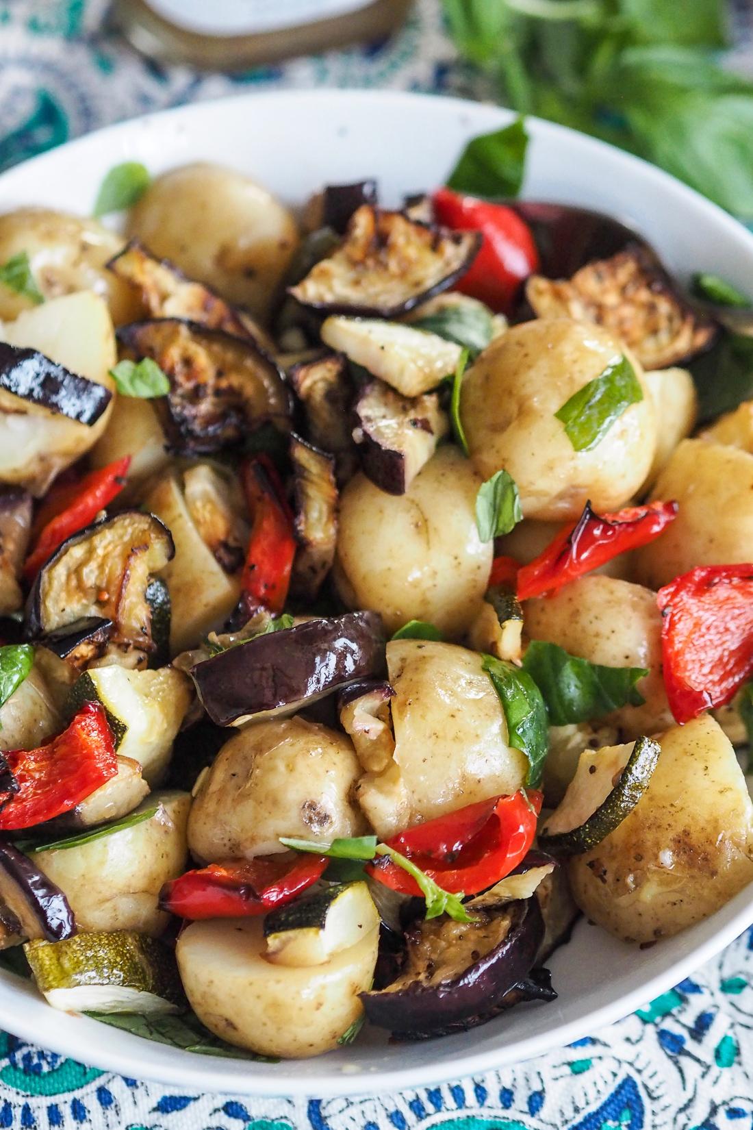 new potato and roast vegetable salad with italian dressing