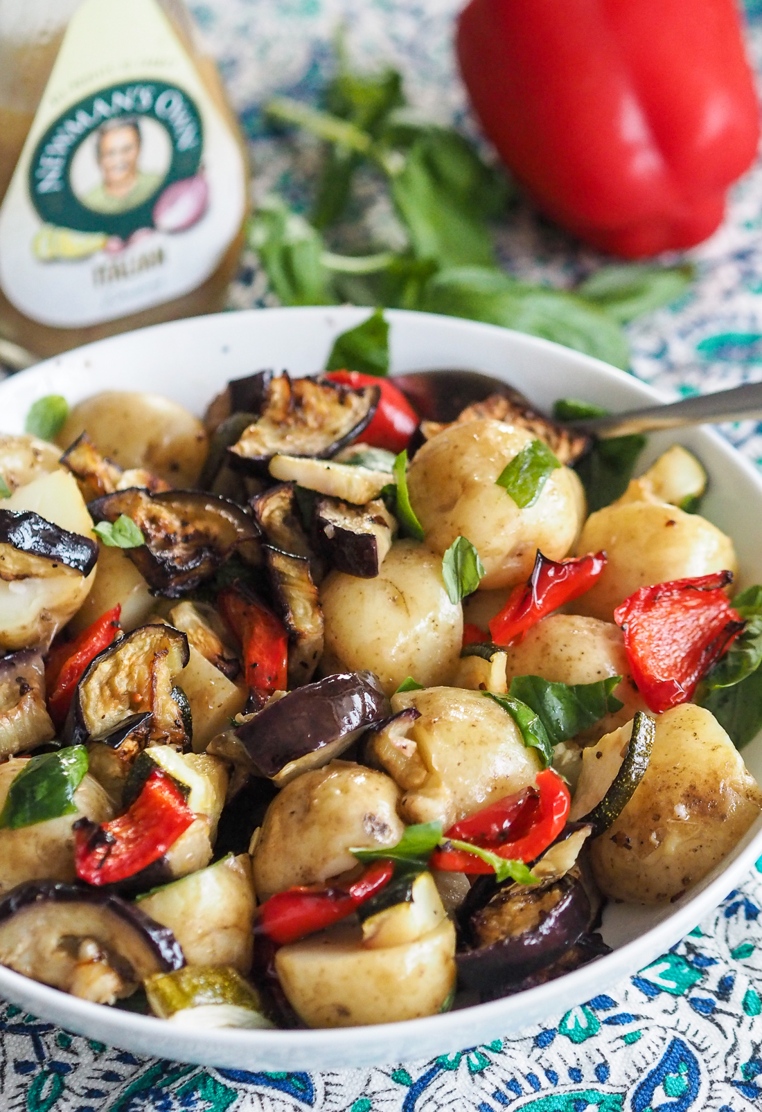 new potato and roast vegetable salad with italian dressing
