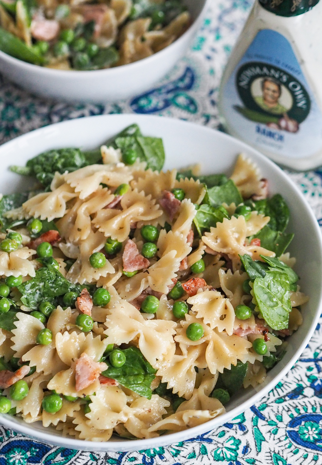 ranch pea and bacon pasta salad