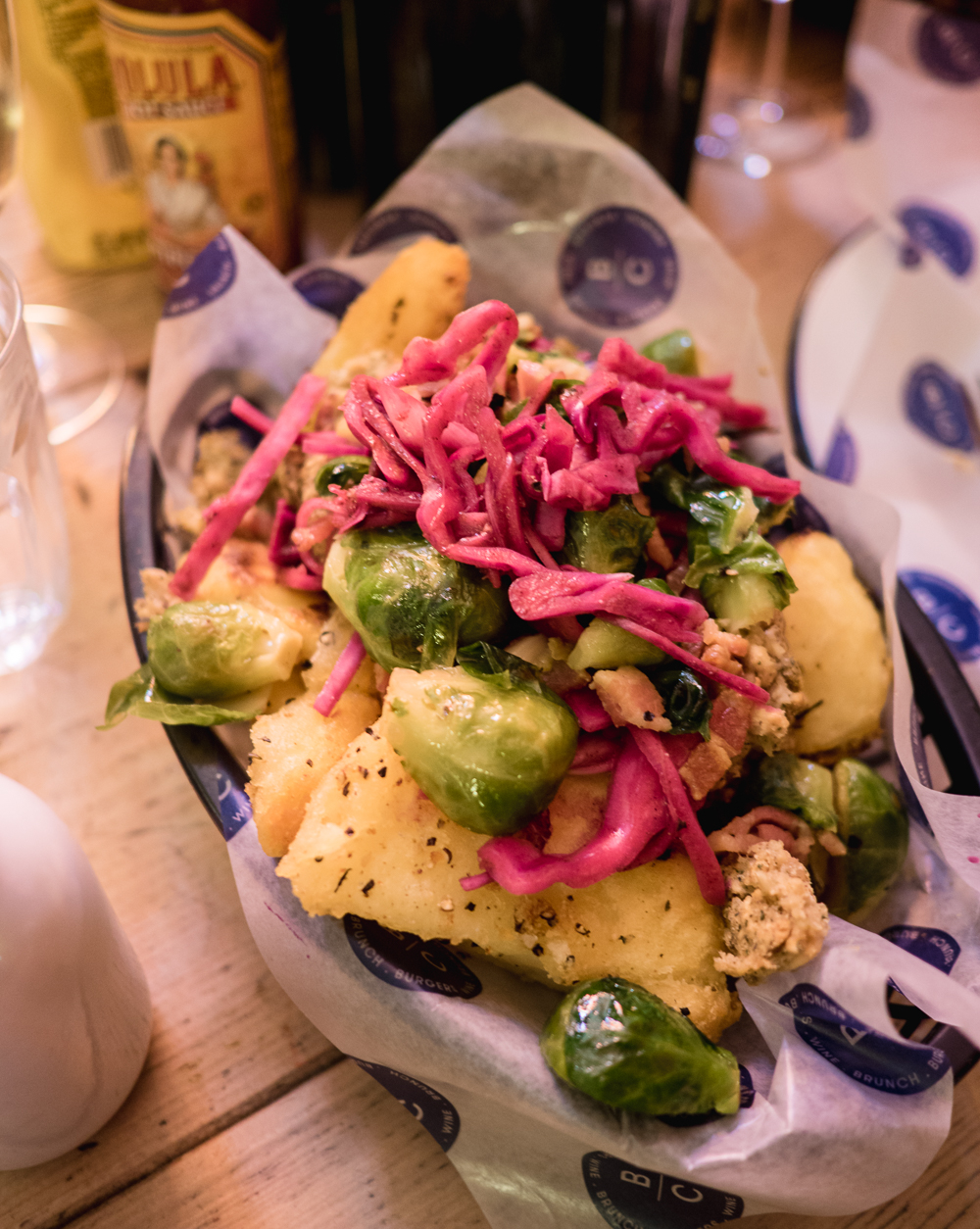 loaded roast potatoes and brussels sprouts