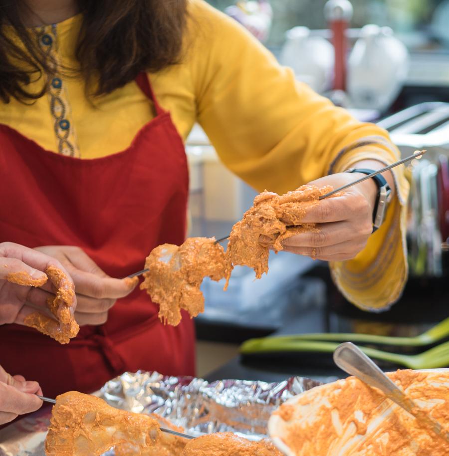chicken tandoori on a skewer