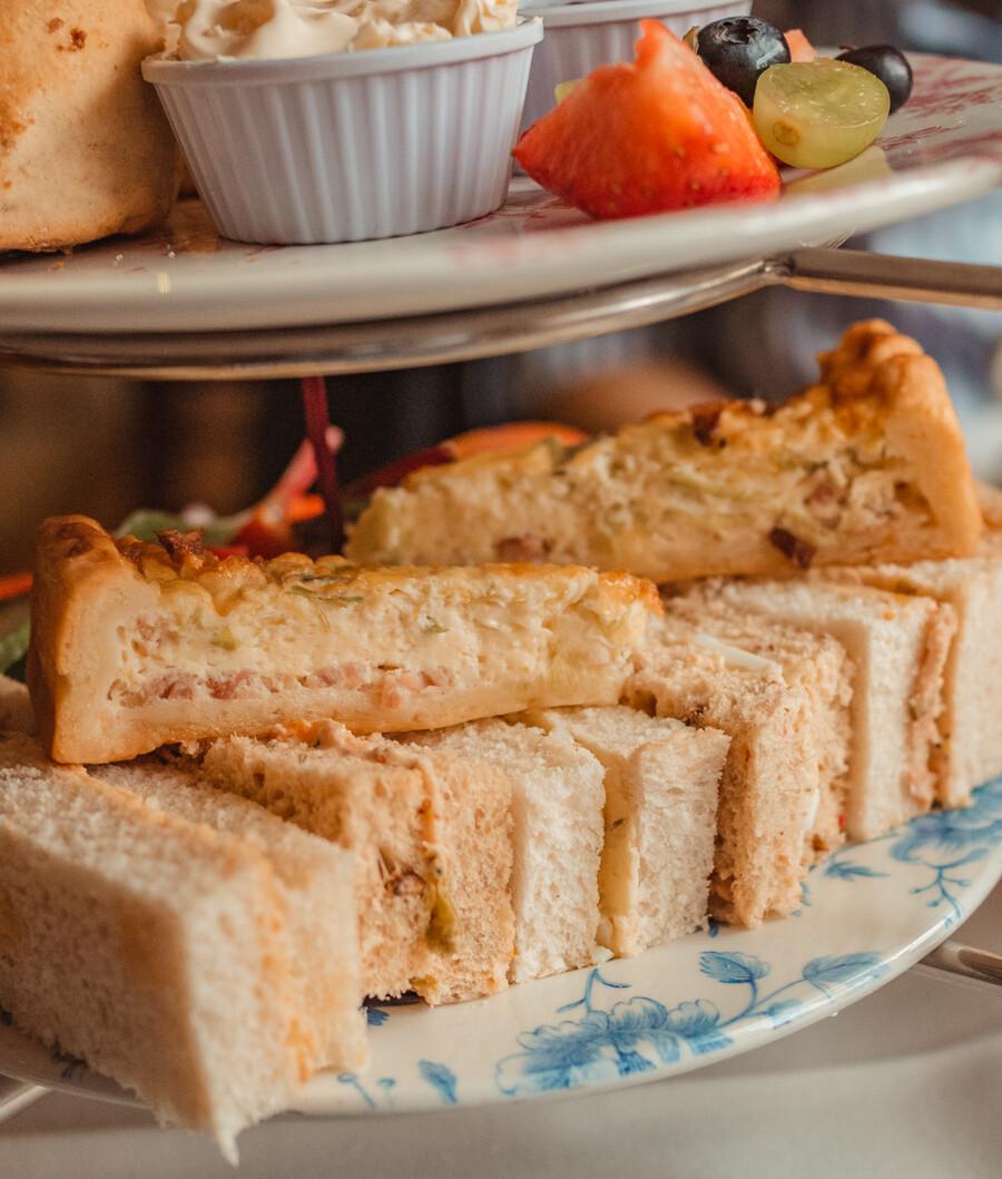 sandwiches and quiche lorraine