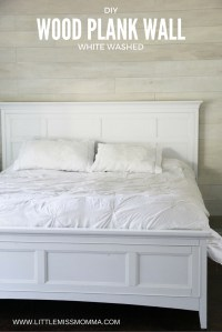 How to Make a White Washed Wood Plank Accent Wall | Little ...
