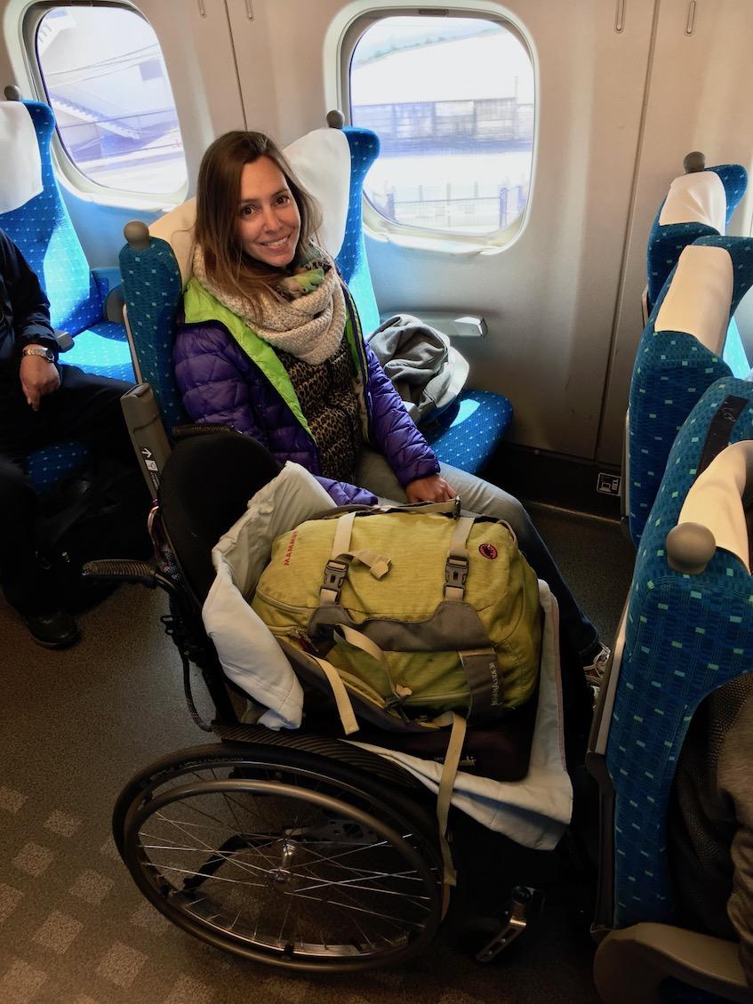 Wheelchair seat on Shinkansen Hikari | Little Miss Turtle