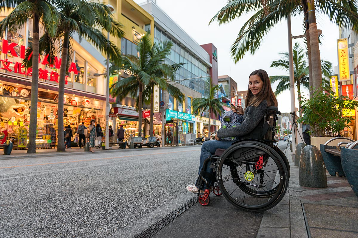 Naha International Street in a wheelchair