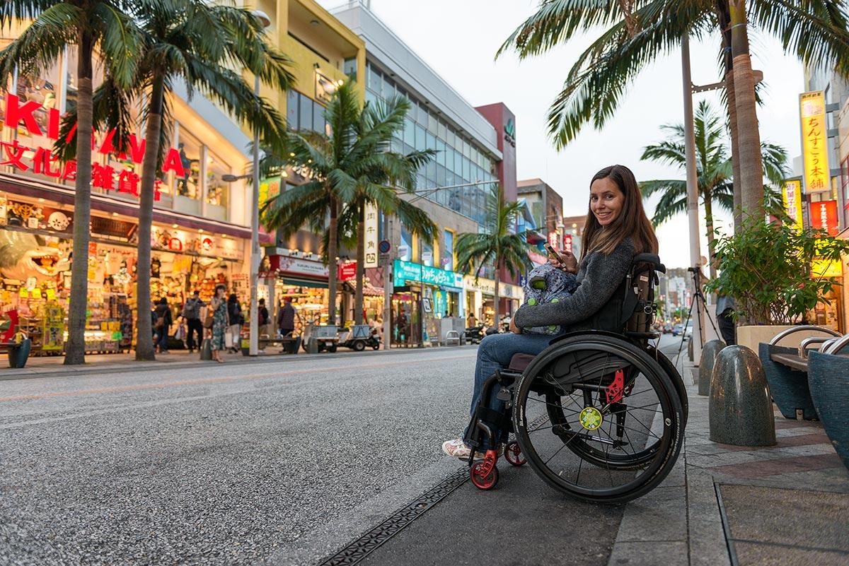 Naha International Street in a wheelchair