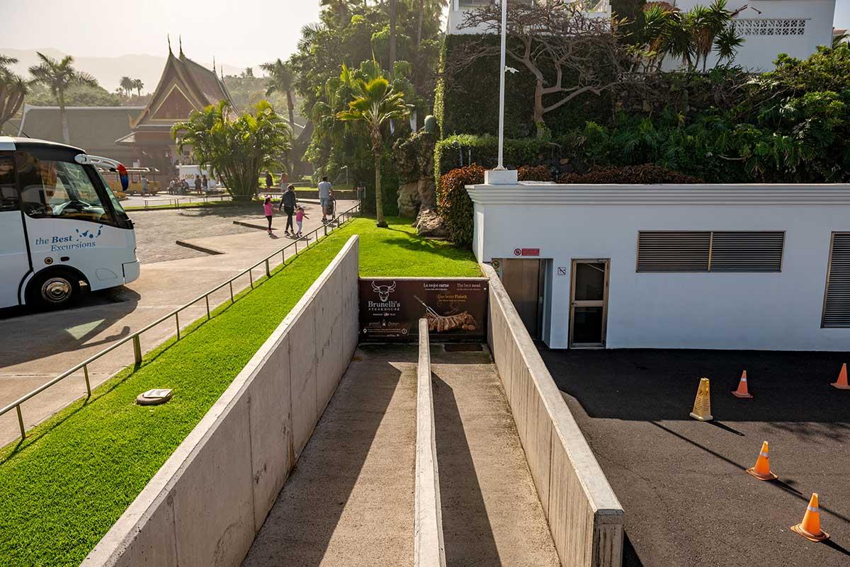Ramp to underground parking at Loro Parque