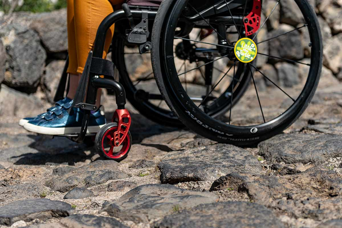 Wheelchair stuck on cobblestone