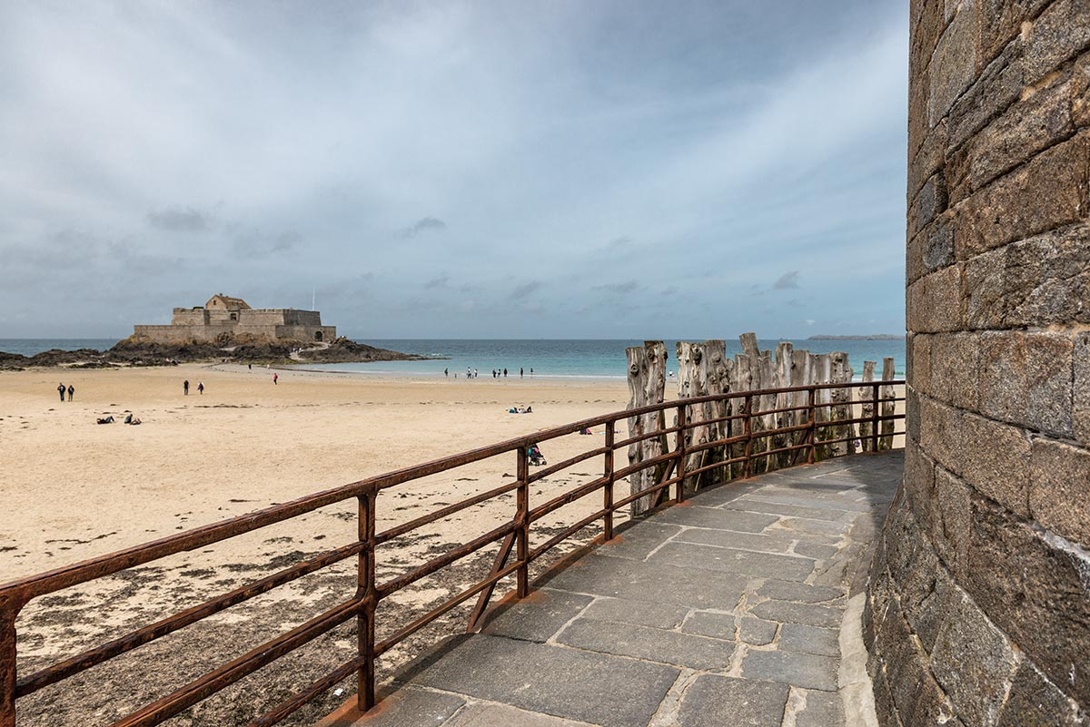 Accessible path leading around Saint-Malo Castle | Little Miss Turtle | Wheelchair Travel Blog