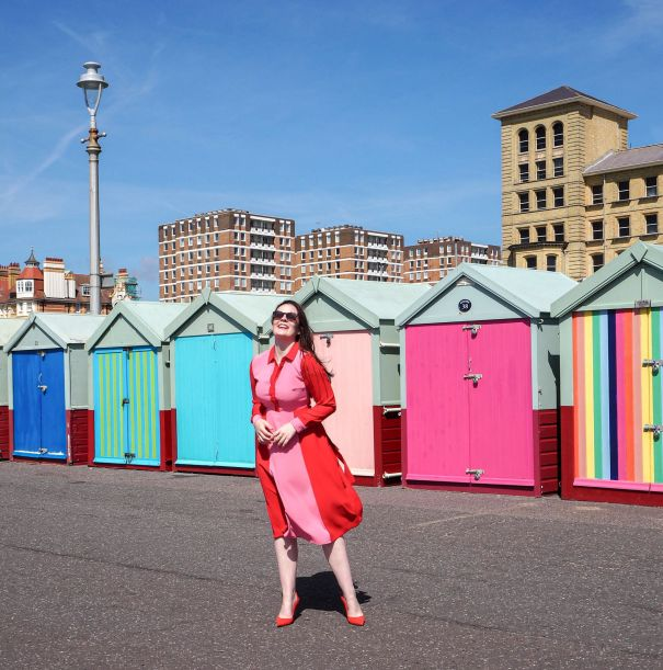hove beach huts boden striped dress review british seaside kate winney pier