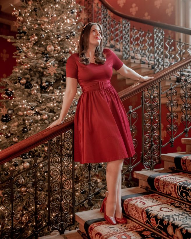 Kate Winney Vintage Lindybop Dress Christmas St Pancras Stairs London