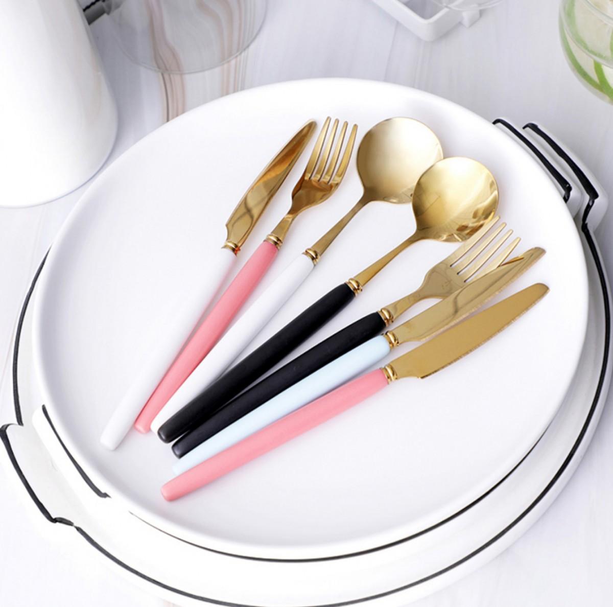 陶瓷手柄不鏽鋼餐具3入組\\湯匙\\叉子\\叉子\\湯勺\\刀子\\西餐刀\\littlemore-共4色-kt1010