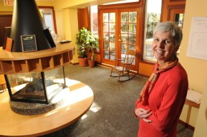 Kathy McGrenera at Quayside Village, a cohousing complex in North Vancouver. Photo Dan Toulgoet