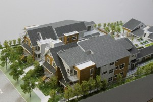 A model of Vancouver's first cohousing project, which is currently under construction on East 33rd. Photo Lorne Mallin