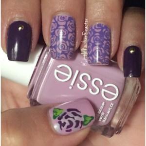 Purple Floral Nail Art