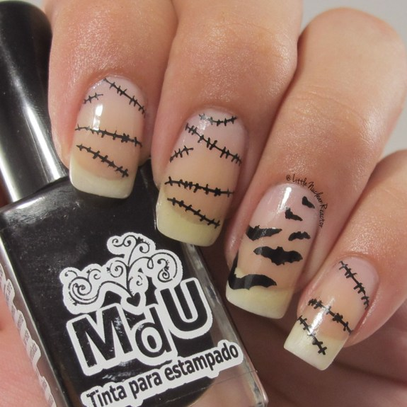 Halloween Negative Stamping nail art
