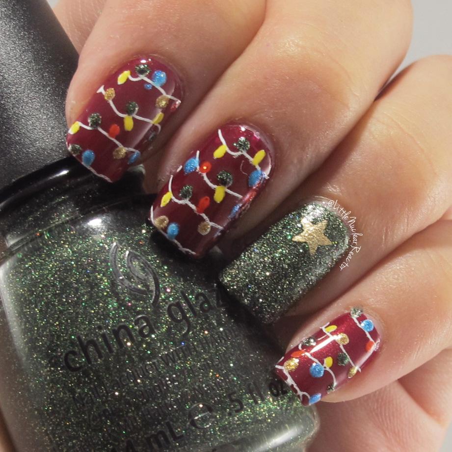 christmas lights nail art tutorial littlenuclearreactor