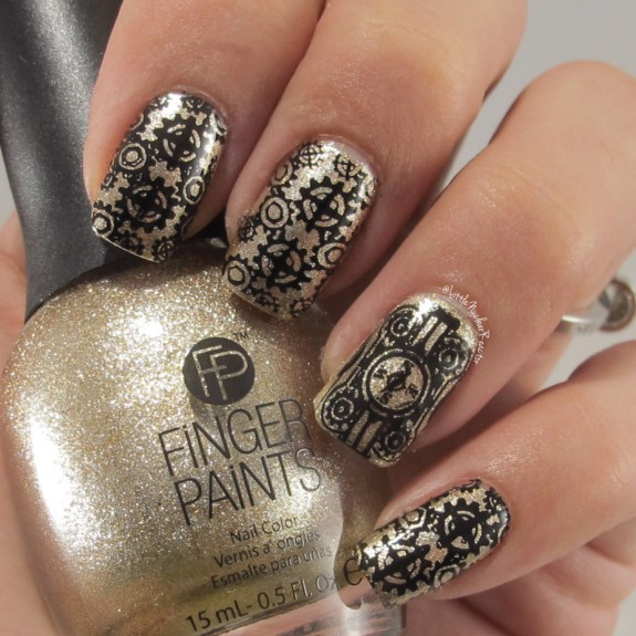 Steampunk stamped nail art featuring MoYou London Steampunk 02 Stamping Plate