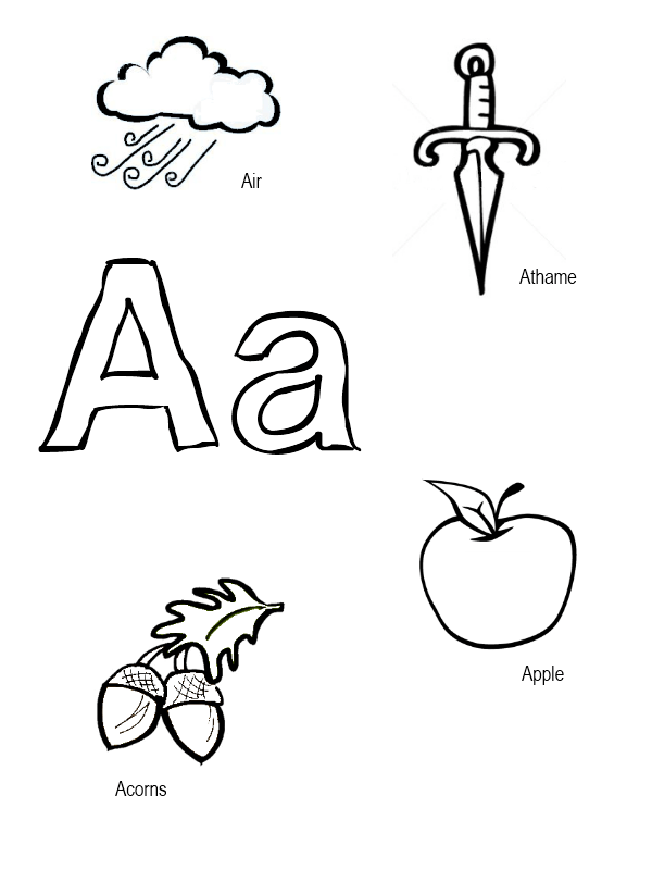Pagan Alphabet Coloring Sheets