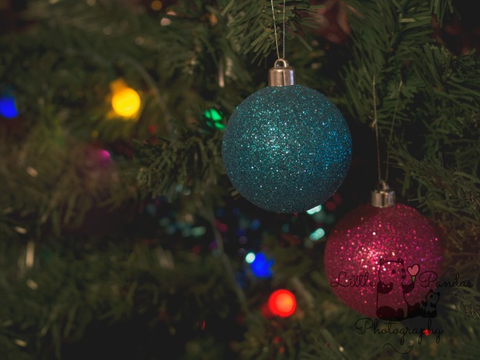 Sparkly baubles on tree Christmas