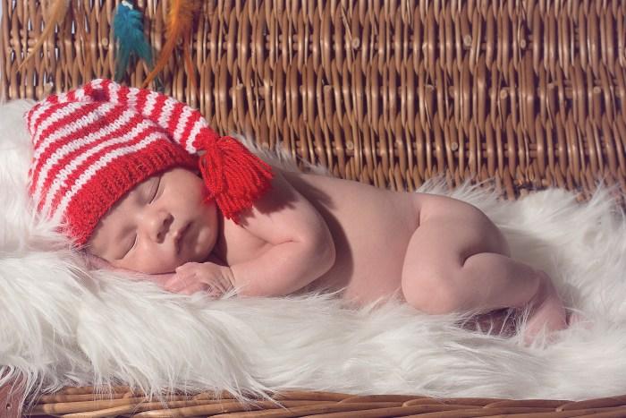 Baby in stripy hat