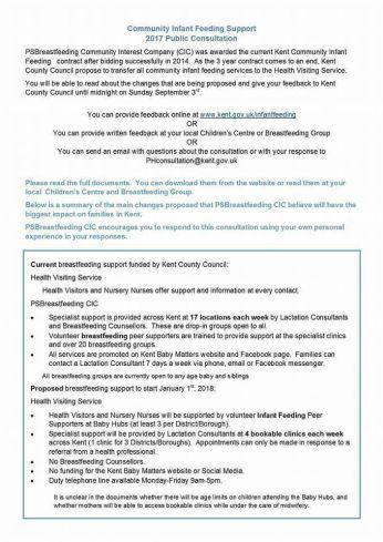 Breastfeeding service in Kent consultation document 1