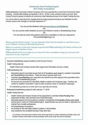 Breastfeeding service in Kent consultation document 1