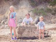 Family with sandcastle