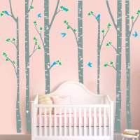 S1 Modern Wall Sticker Birch Tree Birds Vinyl Wall Art