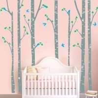 S1 Modern Wall Sticker Birch Tree Birds Vinyl Wall Art