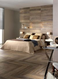 Laminate flooring on walls for a warm and luxurious feel ...