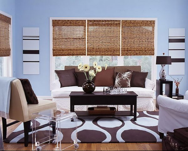 blue living room walls with brown furniture upholstered stools for and decor - little piece of me