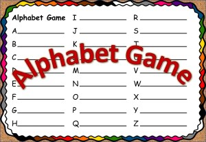 Alphabet game blank example page