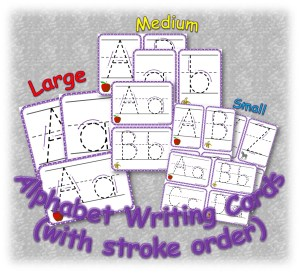 Alphabet writing cards resource bundle cover
