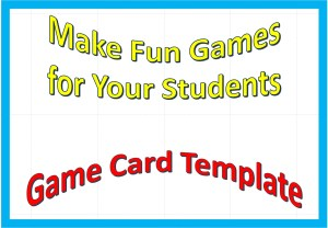 Game cards template blank sample