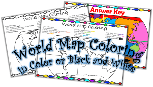 Continents and Oceans World Map Coloring cover