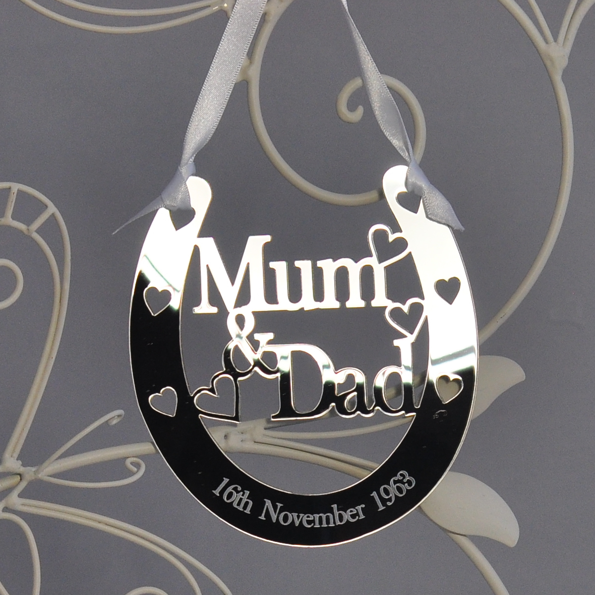 Personalised Mum Amp Dad Lucky Horseshoe Bridal 25th Wedding Anniversary Gift Silver Little