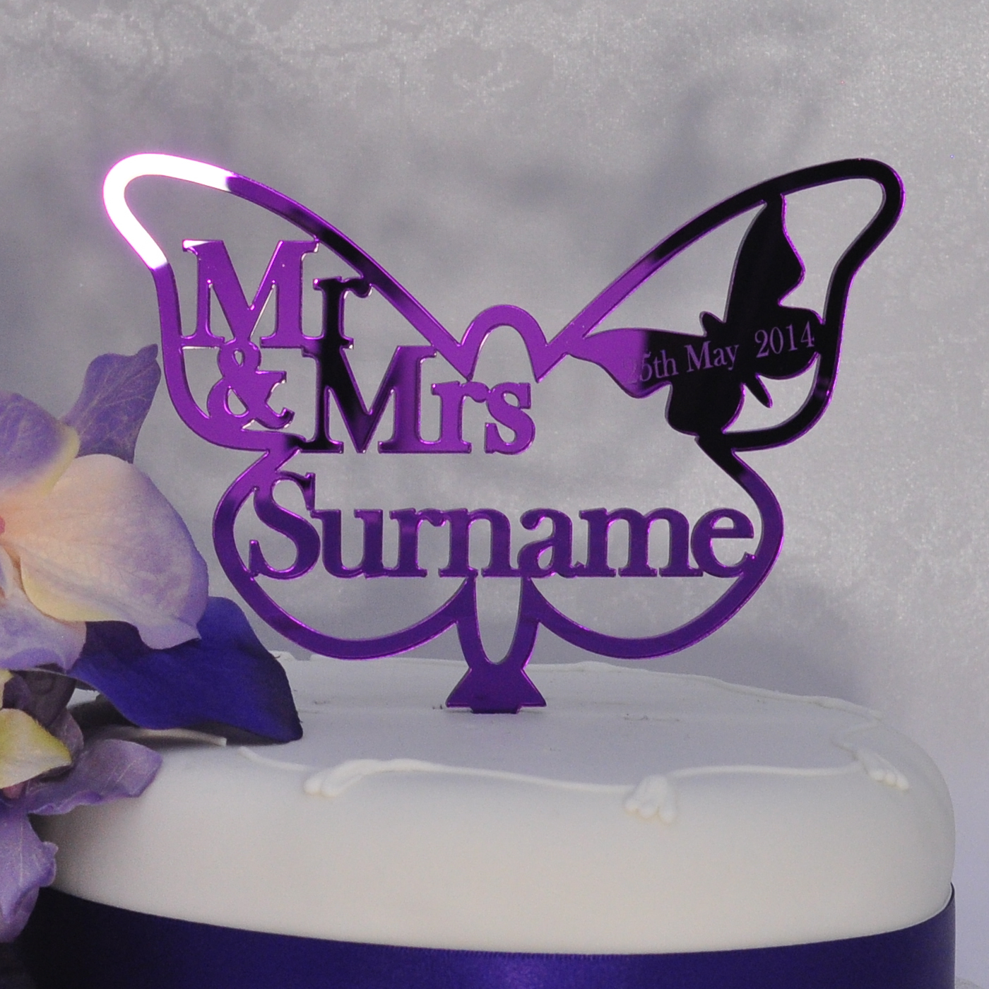 Personalised Wedding Mr Amp Mrs Butterfly Cake Topper Purple