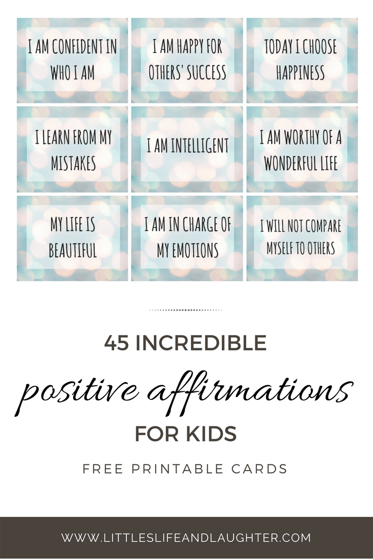 Free Printable Affirmation Cards - Littles, Life, & Laughter